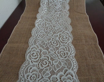 Vintage Burlap and Lace  Style no.20161 WEDDING TABLE RUNNER (12 X 108)