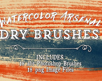 Watercolor Photoshop Brushes - Watercolor Arsenal Dry Paint Brushes Clip art - Water Colour Paint Digital Stamps