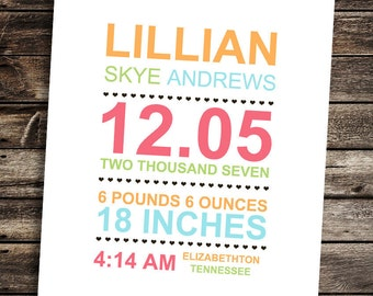 "Personalized Baby Wall Decor/Birth Announcment Digital New Baby Gift 8""x10"""