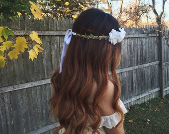 White Flower Crown with Vine Accents