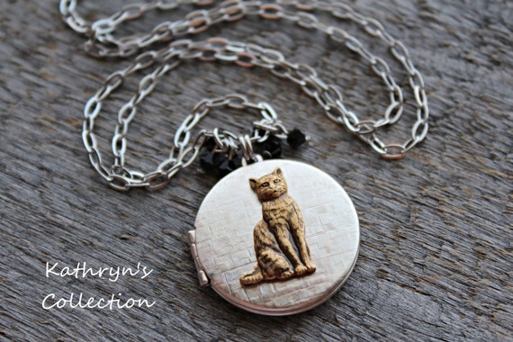 Cat Locket, Cat Necklace, Cat Jewelry, Kitty Jewelry, Cat Sympathy Gift, Cat lover Gift