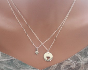 Sterling Silver Mother Daughter Heart Necklaces, Mother Daughter Necklace Set, Mom Daughter Heart Necklace Set, Cute Mom and Daughter Set