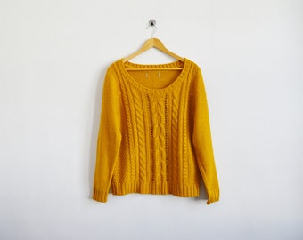vintage 1990s mustard yellow chunky knit sweater
