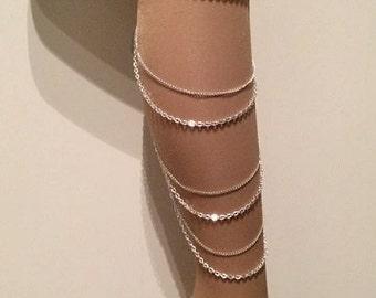 18k gold side leg chain or 925 sterling silver, leglet, anklet.