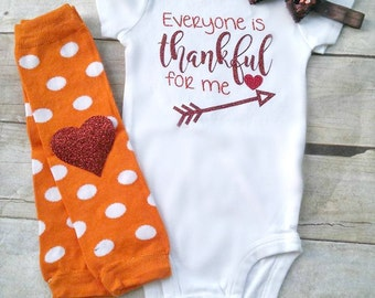 Everyone Is Thankful For Me, Thanksgiving, Fall Thanksgiving Outfit, Baby's First Thanksgiving, Glitter Bodysuit, Legwarmers, Headband