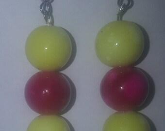 Yellow and pink watermarked beaded earrings handmade
