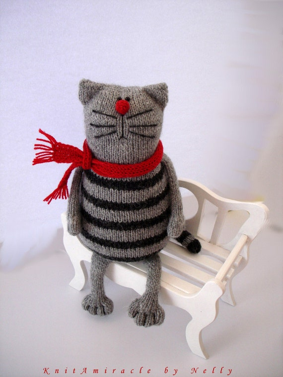 Knitting Pattern For A Toy Cat : Toy cat knitting pattern PDF / animal knitting pattern