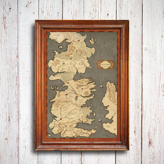 Game of Thrones Map vintage style westeros by ConsiderGraphics
