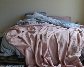 ROSE QUARTZ linen Throw Blanket. Blush pink Bed Cover. Bedspread. Coverlet. Comforter. Summer blanket. Rustic Rough Heavy Weight Linen Sheet