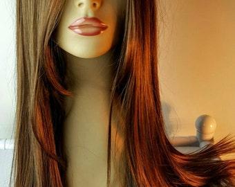 Long Brunette Wig with Center Part. Brunette Wig, Long Brunette Wig. Long Face Framing Layers