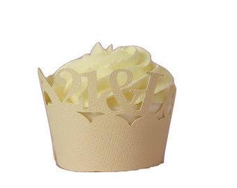 Vanilla 21-&-Legalized Cupcake Wrappers, Set of 12, Birthday, Vanilla Texture, Cupcake Decor, Handcrafted Party Decor, Party Supplies