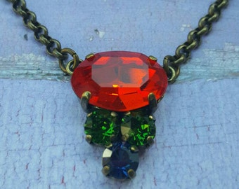 JUBILEE – Swarovski multi crystal necklace in oxidized brass setting