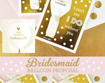 Will you be my Bridesmaid Card Set Gold Will you be my Bridesmaid Card Funny Bridesmaid Card Proposal ( EB3117) - KIT of 4 balloon cards
