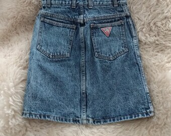 90s Guess by Georges Marciano Made in USA Acid Wash Denim Mini Skirt XS 24/25