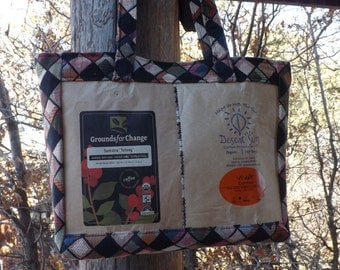 SALE Coffee Bags and Black Checkered Fabric Bag Purse Tote Recycled Upcycled Repurposed