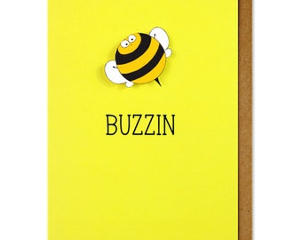 Buzzin Personalised Bumble Bee Greeting Card