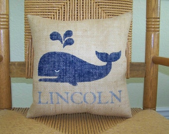 Whale pillow, Beach pillow, Personalized pillow, Burlap pillow, Nautical Pillow, nursery decor, stenciled pillow, FREE SHIPPING!