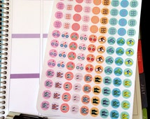 Triathlon Sticker, Run, Bike, Swim Dot Stickers, Fits all Planners, Pastel and Rainbow Option, Planner Stickers, Calendar Stickers