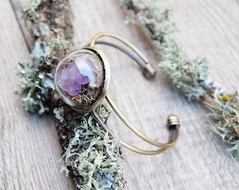 Natural crystal bracelet,amethyst cuff bracelet, gift for woman, terrarium jewelry, botanical jewelry, moss terrarium, raw amethyst bracelet