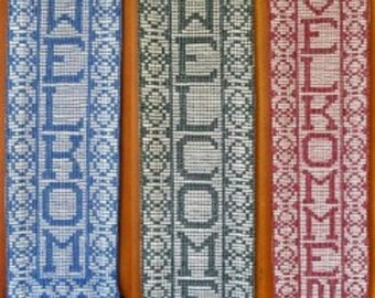 """Welcome Bell Pull Swedish Weave Designs by Katherine Kennedy """"Welcome in any Language"""" Huck Embroidery Full Alphabet Pattern"""