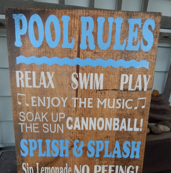 Pool Quotes Pool Rules Wood Sign Personalized Pool Sign Outdoor Decor