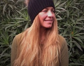 Real Fur Womens Pom Pom Hat Beanie Cashmere Merino Black
