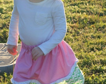 Toddler - Pink Skirt with Green Chevron and Lace trim 5T