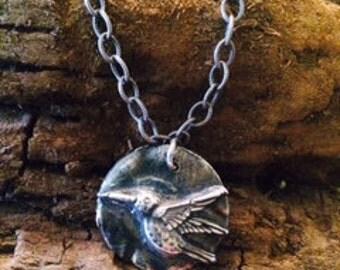 Fine Silver pendant of Hummingbird in Flight