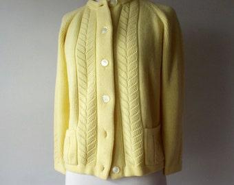 50s hand knit cardigan + Vintage yellow cardi
