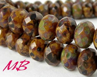 9x6mm 25 pcs Beads, Opaque Beige, Brown Full Coat Picasso, Faceted Rondelle, Abacus Beads