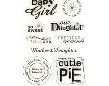 SALE! 9-piece Baby Girl Clear Stamp Set