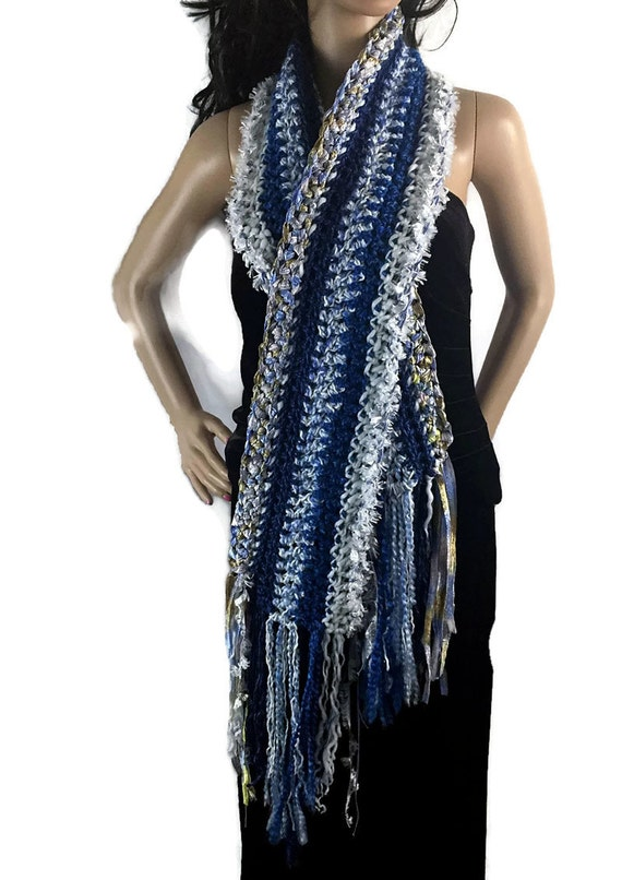 Ragamuffin Fringe Long Winter Scarf - Blue Gold White - Gift Under 50 - OOAK Chunky Outlander Knit Crocheted FREE SHIPPING RG14