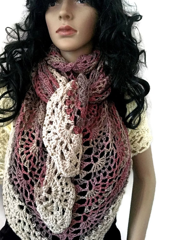 OOAK Winter Lace Shawl - Gift for Her - Beaded Muted Pink, Taupe, Cream Wrap - Winter accessories Crochet Knit FREE SHIPPING SH11