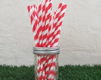 Red Striped Paper Straws (25 straws/pack)