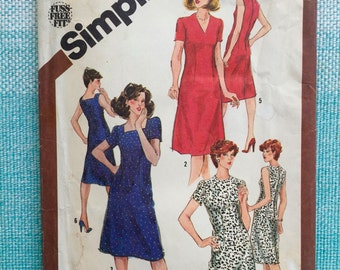 1980s Simplicity 9900 Ladies Misses Half-size Fitted Sheath Dress Round Square V Neck Sleeveless Sleeves Princess Seams Size 16 1/2 Bust 39