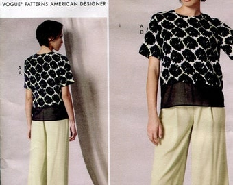 DKNY Donna Karan Vogue V1492 American Designer Misses Scalloped Top and Straight Leg Pants OOP Sewing Pattern Size  14 to 22 Uncut