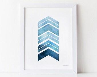 Navy Blue Art Print, PRINTABLE Wall Art Blue Arrows Print, Bedroom Decor, Blue print art Navy decor Home Office Art Navy print Geometric Art