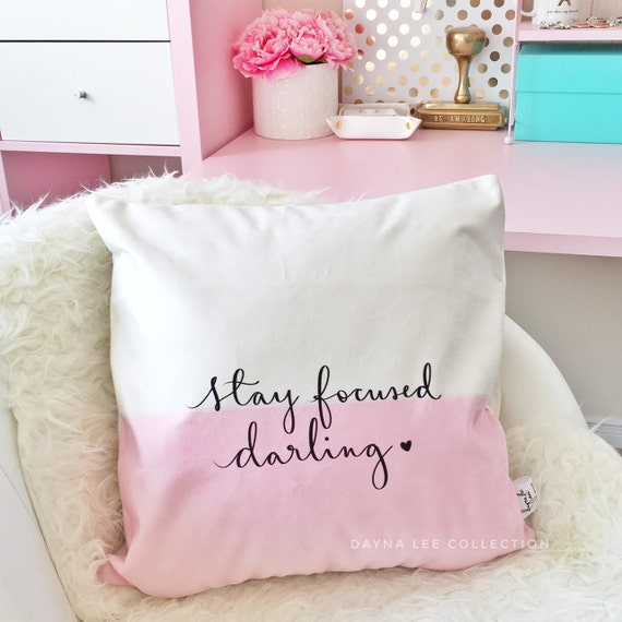 "Stay Focused Darling - Girly Pink Colorblock Inspirational Quote 18"" Velveteen PILLOW COVER"