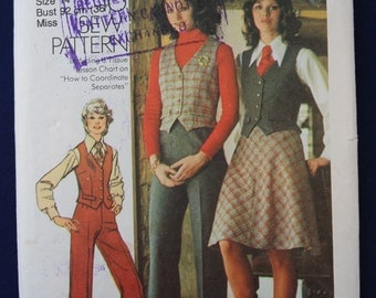 Vintage Sewing Pattern for a Woman's Skirt, Waistcoat and Trousers in Size 14 - Simplicity 5206