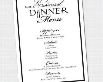 Elegant Rehearsal Dinner Menu {Digital File} Dinner Menu