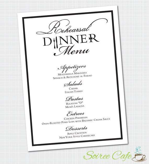 Elegant Rehearsal Dinner Menu Digital File Dinner Menu