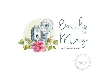 Flower Camera Business Logo  Photography Marketing Kit  Logo Photography Flower  Logo Design Package  Rustic Photography Logo
