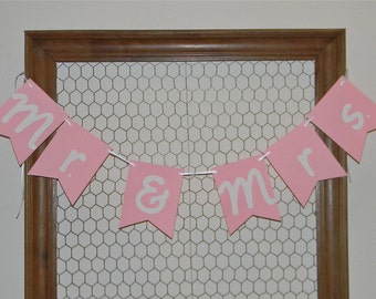 Mr. and Mrs. Banner - Pink Mr. and Mrs. Banner - Pink Wedding Banner - Pink and White Wedding Decor - Bride and Groom Banner - Pink Wedding