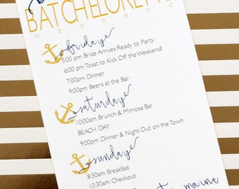 Printed Nautical Bachelorette / Wedding Party Itinerary