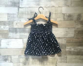 Nautical Print Baby Dress | Nautical Theme Sundress | Navy Blue Dress | Patterned Blue Summer Dress | Nautical Print | Navy Baby Girls Dress