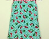 """Size 4 - Fully Reversible -""""Alexandra Dress"""" - in Retro Blue Cherries and Retro Pink Cherries on reverse"""