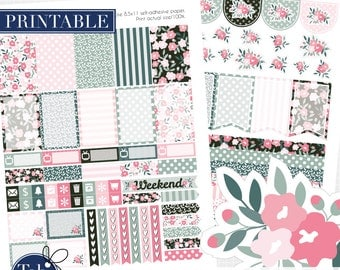 Two pack printable planner stickers for MAMBI Happy Planner, Filofax. Best-selling shabby chic floral weekly kit.