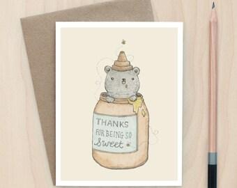Honey Bear Thank You - A2 Greeting Card