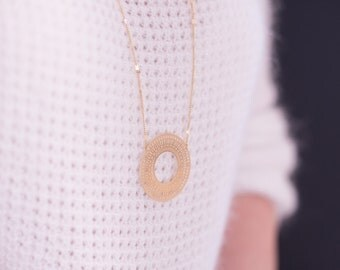NEW ethnic circle, Fine gold chain necklace
