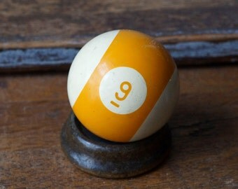 """2.25"""" Old Pool Ball 9 Nine IX Yellow White Number Plastic Billiard Ball Standard Size Color Stripe Striped Stripes Retro Paperweight"""